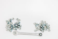 Steel spanners, bolts and nuts in a DIY Royalty Free Stock Photo