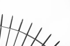 Steel spikes on white Silhouette. Royalty Free Stock Photography