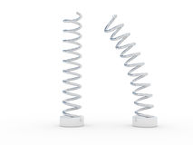 Steel springs. Two steel springs over white Royalty Free Stock Photo