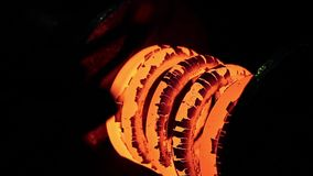 Steel springs production process stock footage
