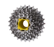 Steel sprocket for bicycle. Used steel  sprocket for bicycles on a white background Stock Photography