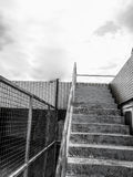 Steel staircase back and white on terrace Royalty Free Stock Photography