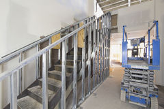 Steel Staircase Construction. In Commercial Space with Metal Studs Support royalty free stock image