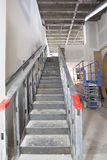 Steel Staircase Construction in Commercial Space. Mezzanine with Metal Studs Support stock images