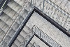 Steel staircase with multiple levels. Topview of steel staircase with multiple levels Stock Photo