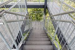 Steel staircase of an observation tower Stock Photography