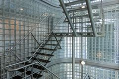 Steel stairway in a modern office building Stock Photos
