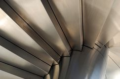 Steel Stairways. Closeup of Stainless Steel Stairways Shot from low angle Stock Photo