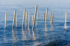 Steel Stakes On The Sea Stock Photo