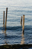 Steel Stakes On The Sea Stock Photography
