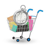 Steel stopwatch and bag on a shopping cart Stock Image