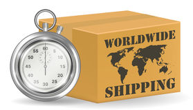 Steel stopwatch with worldwide shipping carton box. A steel stopwatch with worldwide shipping carton box Royalty Free Stock Images