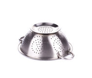 Steel strainer sieve metal bowl. Stock Image