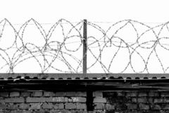 Steel strands of rolled barbed wire on the fence of the prison against the gray sky. royalty free stock photography
