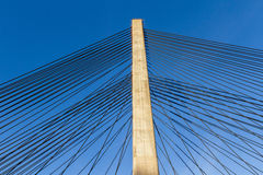 Steel Straps on the Tower of a Cable-Stayed Bridge Royalty Free Stock Images