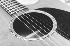 Steel String Guitar in Black and White Royalty Free Stock Photos