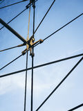 Steel string line structure Architecture details stock photo