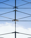 Steel string line structure Architecture details blue sky stock photo