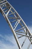 Steel structure. Stainless steel structure. Modern architecture detail. Metal piping Stock Photos
