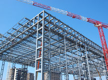 Steel structure. And crane in Rome, Italy Royalty Free Stock Image