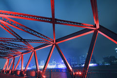 Steel structure bridge close-up at night landscape Royalty Free Stock Image