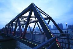 Steel structure bridge close-up at night landscape Stock Photos