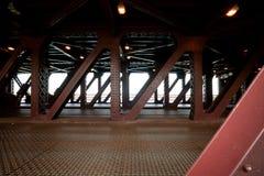 Steel structure of the bridge. Rusty steel structure of the bridge Stock Image