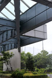 Steel structure of building in rain Stock Photo