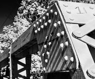 Steel structure. That composes an old wooden bridge Stock Image