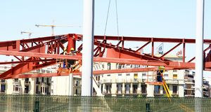 Steel structure for the construction of the Encantes Nuevos or Fira de Bellcaire. Barcelona, Catalunya, Spain Stock Image