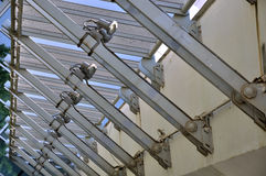 Steel structure construction in regular. Steel structure architecture in perspective, shown as geometry, repeat composition and shape, or industrial concept in Royalty Free Stock Photography
