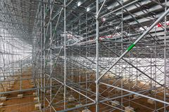 Steel structure of construction scaffolding. 2013 Stock Photo