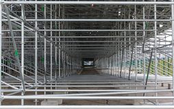 Steel structure of construction scaffolding Stock Images