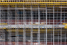 Steel structure of construction. Temporary scaffolding for construction works at building site Stock Photo