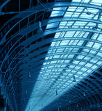 Steel structure corridor. Steel structure of roof indoor hallway corridor construction Royalty Free Stock Image