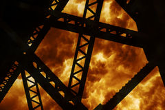 Steel Structure Explosion. Steel Structure Silhouette of a large explosion Stock Photo