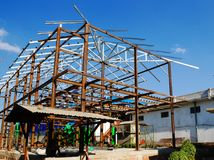 Steel structure at a factory construction site in Myanmar Royalty Free Stock Photos