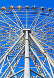 Steel structure of ferris with blue sky Stock Photos
