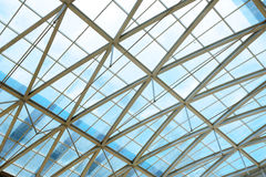 Steel structure and glass roof Royalty Free Stock Images