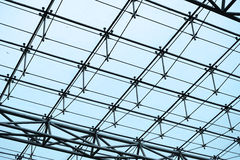 Steel structure and glass roof. Ethmoid roof of glass, steel structure Stock Photos