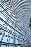 Steel structure and glass roof. Ethmoid roof of glass, steel structure Royalty Free Stock Photos