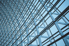 Steel structure of the glass wal Stock Photo