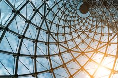 The steel structure of the glass wall.  Stock Photos