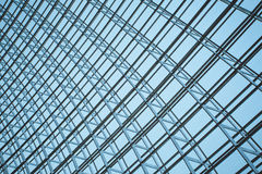 Steel structure of the glass wall Stock Photos