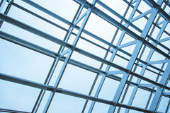Steel structure of the glass wall Royalty Free Stock Photo