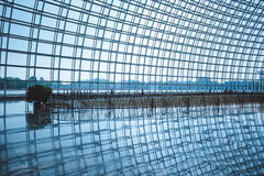 Steel structure of the glass wall Stock Image