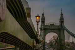 The steel structure of the Hammersmith Bridge in the west side of London The first suspension bridge that crossed the River Thames stock photo