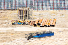 Steel structure and heavy duty tools at construction site Royalty Free Stock Images