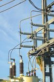 Electrical grid power substation delivering the goods to the end consumer. stock image