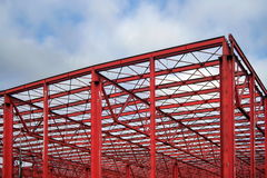 Industrial hall. Steel Structure. Industrial hall with red steel structure, under construction Royalty Free Stock Photo